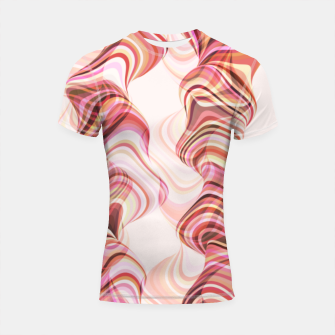 Miniatur Abstract smoke tunnels, pink curvy shapes, texture design, crazy smoky print Shortsleeve rashguard, Live Heroes
