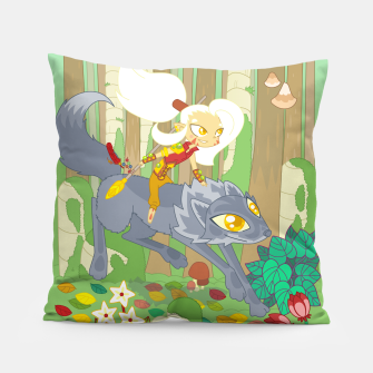 Thumbnail image of Wolf Rider - through the old woods Pillow, Live Heroes
