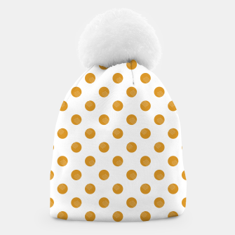 Thumbnail image of Mustard Dots White Lines Beanie, Live Heroes