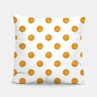 Thumbnail image of Mustard Dots White Lines Pillow, Live Heroes