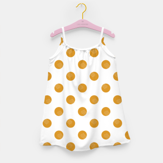 Thumbnail image of Mustard Dots White Lines Girl's dress, Live Heroes