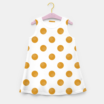 Thumbnail image of Mustard Dots White Lines Girl's summer dress, Live Heroes