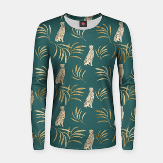 Thumbnail image of Cheetah Eucalyptus Glam Pattern #3 #tropical #decor #art Frauen sweatshirt, Live Heroes