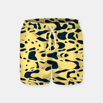 Thumbnail image of Sand beige and ink blue chaotic shapes, color pieces sailing in the space, inspiring simple print Swim Shorts, Live Heroes