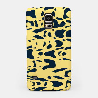 Thumbnail image of Sand beige and ink blue chaotic shapes, color pieces sailing in the space, inspiring simple print Samsung Case, Live Heroes