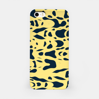 Thumbnail image of Sand beige and ink blue chaotic shapes, color pieces sailing in the space, inspiring simple print iPhone Case, Live Heroes