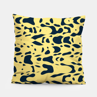 Thumbnail image of Sand beige and ink blue chaotic shapes, color pieces sailing in the space, inspiring simple print Pillow, Live Heroes