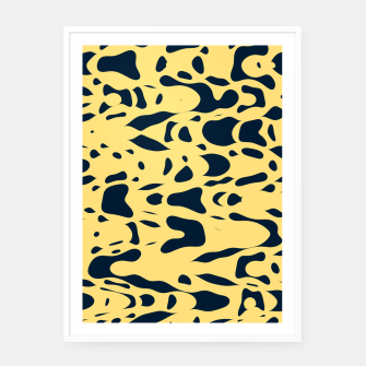 Thumbnail image of Sand beige and ink blue chaotic shapes, color pieces sailing in the space, inspiring simple print Framed poster, Live Heroes
