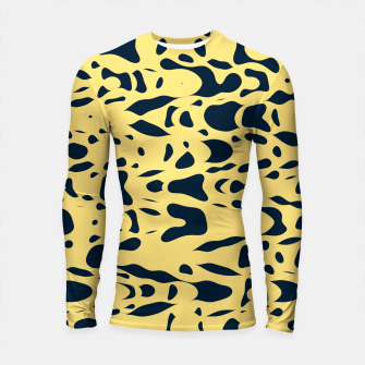 Thumbnail image of Sand beige and ink blue chaotic shapes, color pieces sailing in the space, inspiring simple print Longsleeve rashguard , Live Heroes