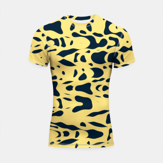Thumbnail image of Sand beige and ink blue chaotic shapes, color pieces sailing in the space, inspiring simple print Shortsleeve rashguard, Live Heroes