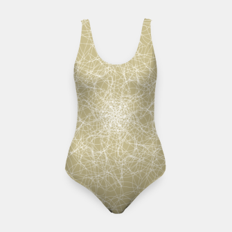 Thumbnail image of Art doodle lines, minimal and simple print on oat beige background Swimsuit, Live Heroes