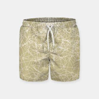 Miniatur Art doodle lines, minimal and simple print on oat beige background Swim Shorts, Live Heroes
