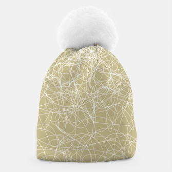 Thumbnail image of Art doodle lines, minimal and simple print on oat beige background Beanie, Live Heroes