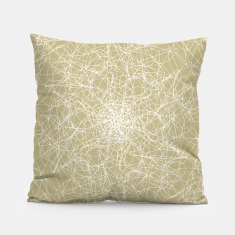 Miniatur Art doodle lines, minimal and simple print on oat beige background Pillow, Live Heroes