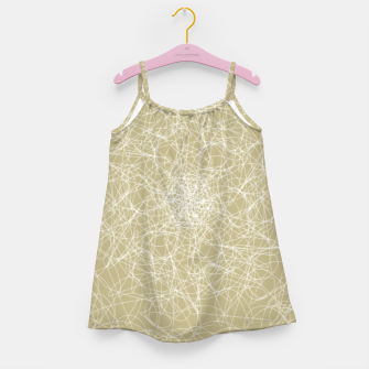 Miniatur Art doodle lines, minimal and simple print on oat beige background Girl's dress, Live Heroes