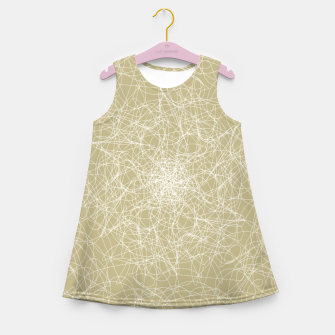 Miniatur Art doodle lines, minimal and simple print on oat beige background Girl's summer dress, Live Heroes