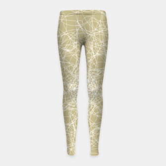 Thumbnail image of Art doodle lines, minimal and simple print on oat beige background Girl's leggings, Live Heroes