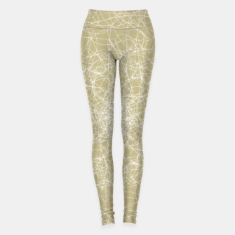 Thumbnail image of Art doodle lines, minimal and simple print on oat beige background Leggings, Live Heroes
