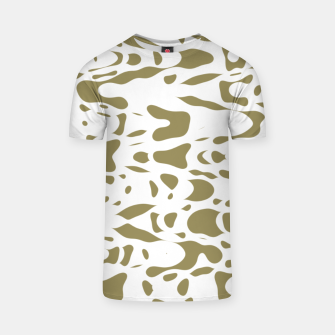Thumbnail image of Beige and white, abstract liquid print, deformed drops flow design T-shirt, Live Heroes