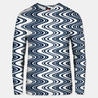 Thumbnail image of Classic blue waves, vertical wavy outline, abstract river flow Unisex sweater, Live Heroes