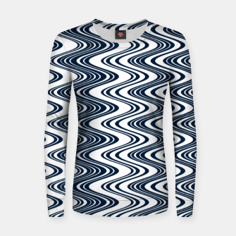 Thumbnail image of Classic blue waves, vertical wavy outline, abstract river flow Women sweater, Live Heroes