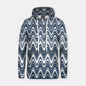 Thumbnail image of Classic blue waves, vertical wavy outline, abstract river flow Hoodie, Live Heroes