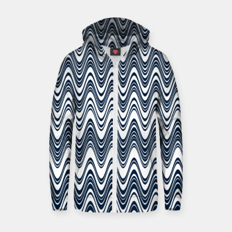 Thumbnail image of Classic blue waves, vertical wavy outline, abstract river flow Zip up hoodie, Live Heroes