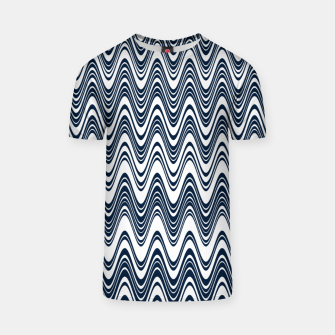 Thumbnail image of Classic blue waves, vertical wavy outline, abstract river flow T-shirt, Live Heroes
