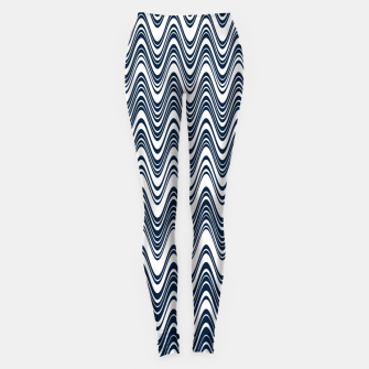 Thumbnail image of Classic blue waves, vertical wavy outline, abstract river flow Leggings, Live Heroes