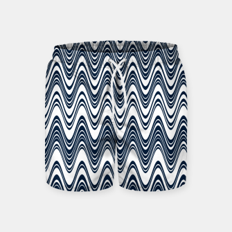 Thumbnail image of Classic blue waves, vertical wavy outline, abstract river flow Swim Shorts, Live Heroes