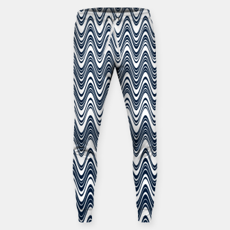 Thumbnail image of Classic blue waves, vertical wavy outline, abstract river flow Sweatpants, Live Heroes