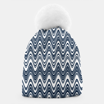 Thumbnail image of Classic blue waves, vertical wavy outline, abstract river flow Beanie, Live Heroes