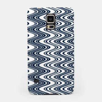 Thumbnail image of Classic blue waves, vertical wavy outline, abstract river flow Samsung Case, Live Heroes