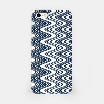 Thumbnail image of Classic blue waves, vertical wavy outline, abstract river flow iPhone Case, Live Heroes