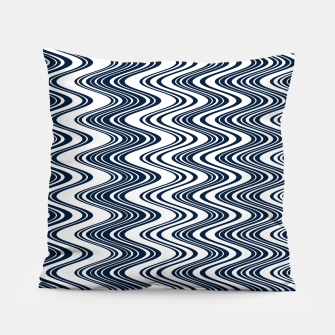 Thumbnail image of Classic blue waves, vertical wavy outline, abstract river flow Pillow, Live Heroes