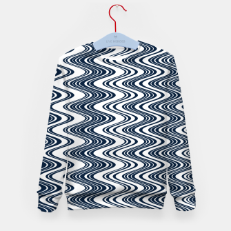 Thumbnail image of Classic blue waves, vertical wavy outline, abstract river flow Kid's sweater, Live Heroes