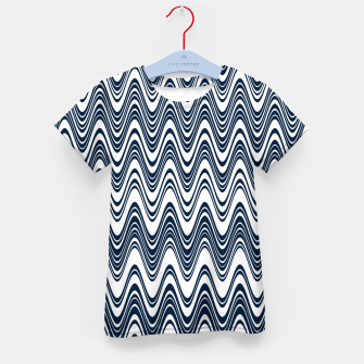 Thumbnail image of Classic blue waves, vertical wavy outline, abstract river flow Kid's t-shirt, Live Heroes