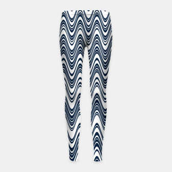 Thumbnail image of Classic blue waves, vertical wavy outline, abstract river flow Girl's leggings, Live Heroes