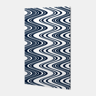 Thumbnail image of Classic blue waves, vertical wavy outline, abstract river flow Canvas, Live Heroes