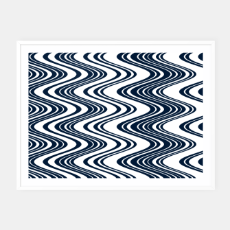 Thumbnail image of Classic blue waves, vertical wavy outline, abstract river flow Framed poster, Live Heroes
