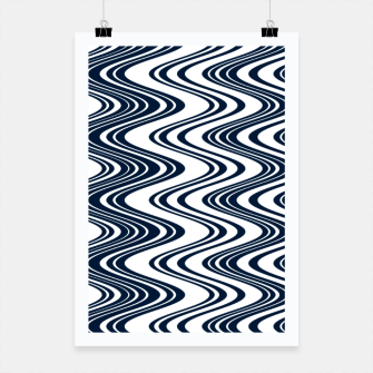 Miniatur Classic blue waves, vertical wavy outline, abstract river flow Poster, Live Heroes