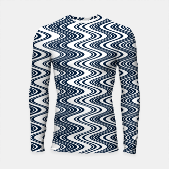 Miniatur Classic blue waves, vertical wavy outline, abstract river flow Longsleeve rashguard , Live Heroes