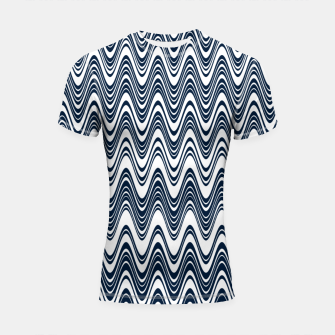 Miniatur Classic blue waves, vertical wavy outline, abstract river flow Shortsleeve rashguard, Live Heroes