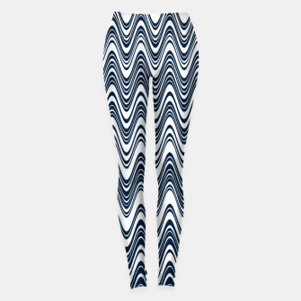 Miniatur Classic blue waves, vertical wavy outline, abstract river flow Leggings, Live Heroes