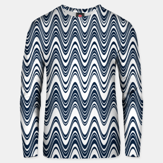 Miniatur Classic blue waves, vertical wavy outline, abstract river flow Unisex sweater, Live Heroes