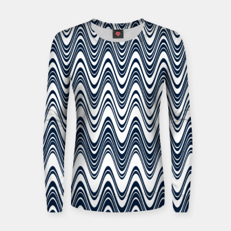 Miniatur Classic blue waves, vertical wavy outline, abstract river flow Women sweater, Live Heroes