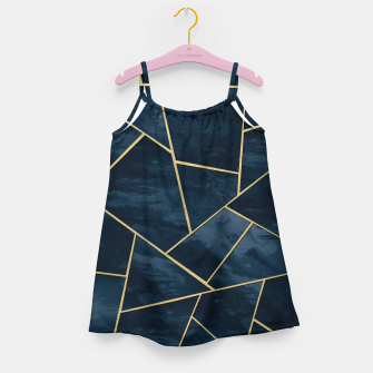 Thumbnail image of Dark Midnight Navy Blue Gold Geometric Glam #1 #geo #decor #art  Mädchenkleid, Live Heroes