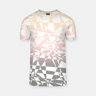 Thumbnail image of Iridescent pink to gray, delicate geometric shapes pattern T-shirt, Live Heroes