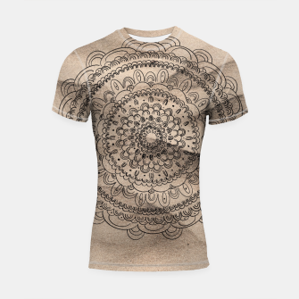 Thumbnail image of Mandala on Sand #1 #boho #wall #decor #art  Shortsleeve rashguard, Live Heroes