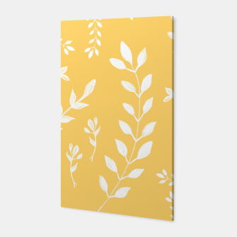 Thumbnail image of White Leaves Pattern #4 #drawing #decor #art Canvas, Live Heroes